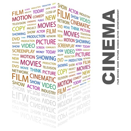 CINEMA. Word collage on white background. Vector illustration.    Vector