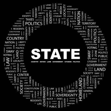 citizenry: ESTADO. Palabra collage sobre fondo negro. Ilustraci�n vectorial.