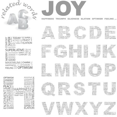 JOY. Vector letter collection. Wordcloud illustration.   Vector