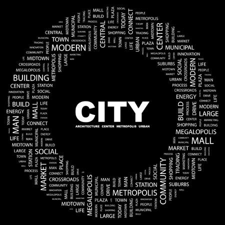 conurbation: CITY. Word collage on black background. Vector illustration.    Illustration