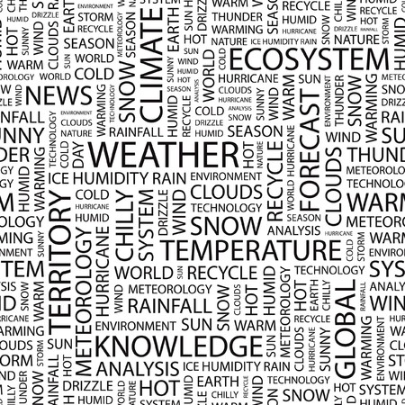 WEATHER. Seamless vector background. Wordcloud illustration. Stock Vector - 7371536