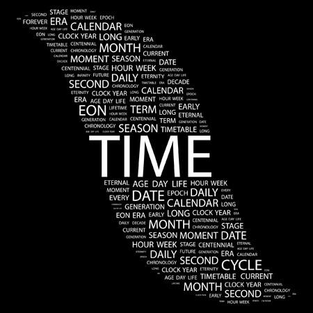 long term: TIEMPO. Palabra collage sobre fondo negro. Ilustraci�n vectorial.