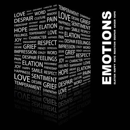 temperamento: EMOCIONES. Palabra collage sobre fondo negro. Ilustraci�n vectorial.