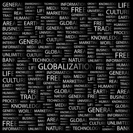 transnational: GLOBALIZATION. Word collage on black background. Vector illustration.    Illustration