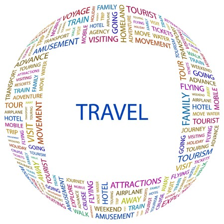 TRAVEL. Word collage on white background. Vector illustration. Stock Vector - 7371633