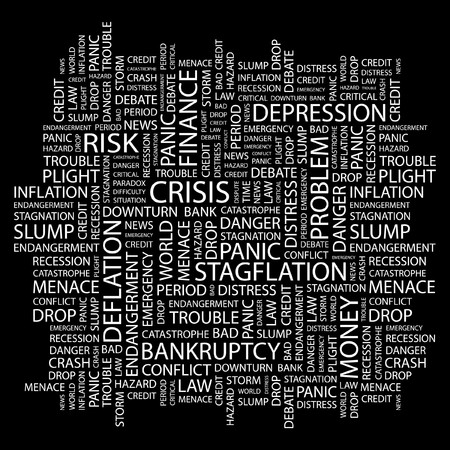 contingency: CRISIS. Word collage on black background. Vector illustration.