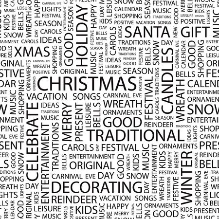 CHRISTMAS. Seamless vector pattern with word cloud.   Vector