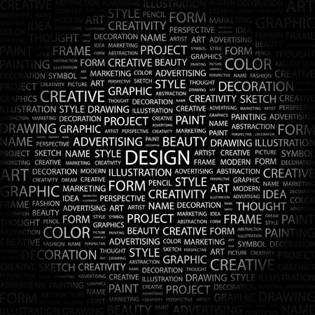 concepteur web: CONCEPTION. Mot collage sur fond noir. Illustration vectorielle.