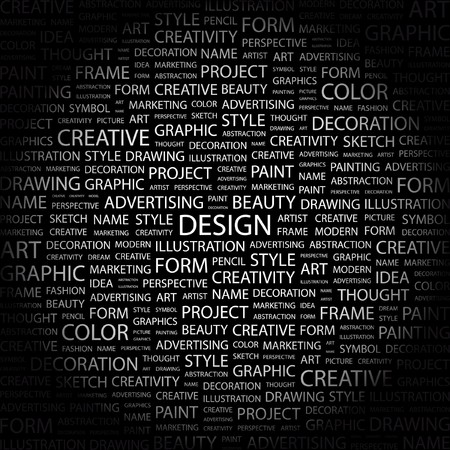 typography: DESIGN. Word collage on black background. Vector illustration.    Illustration