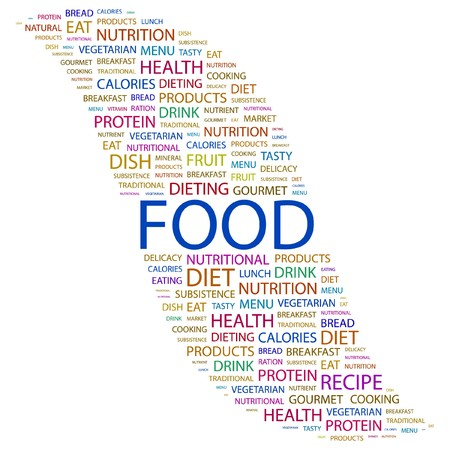 FOOD. Word collage on white background. Vector illustration. Stock Vector - 7371460