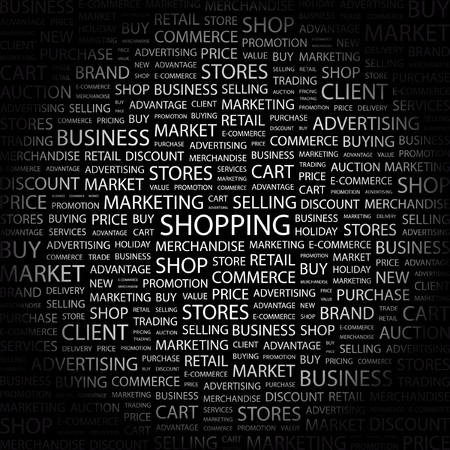 SHOPPING. Word collage on black background. Vector illustration. Stock Vector - 7371745