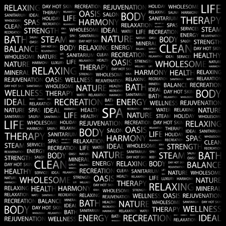 SPA. Word collage on black background. Vector illustration. Stock Vector - 7371754