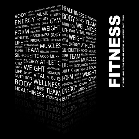 business words: FITNESS. Word collage on black background. Vector illustration.