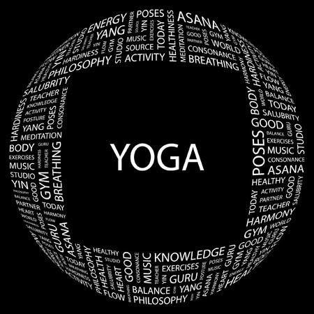 YOGA. Word collage on black background. Vector illustration. Stock Vector - 7371588