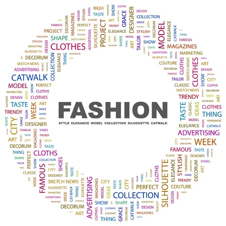 decorum: FASHION. Word collage on white background. Vector illustration.    Illustration