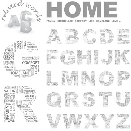 birthplace: HOME. Vector letter collection. Wordcloud illustration.