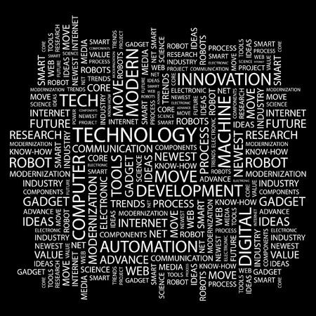 TECHNOLOGIE. Collage de mot sur fond noir. Illustration vectorielle.