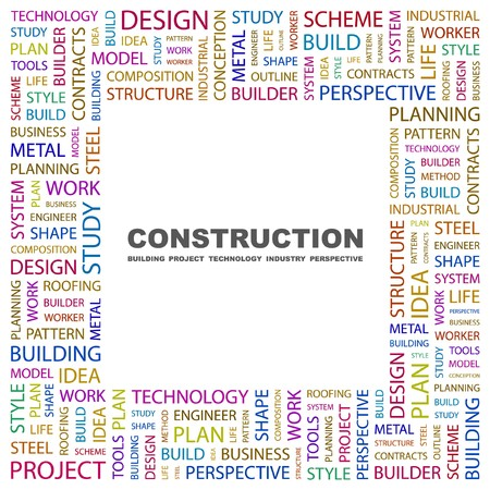 CONSTRUCTION. Word collage on white background. Vector illustration.    Vector