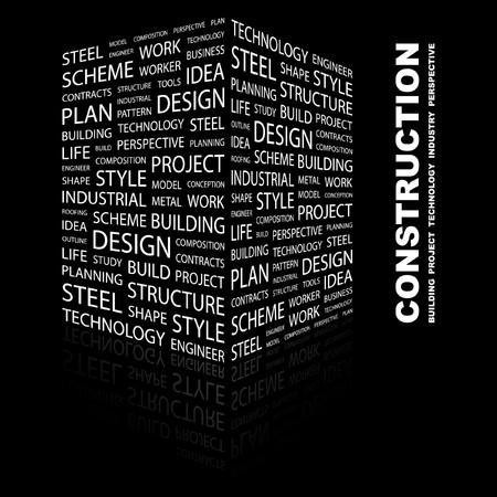 steel construction: COSTRUZIONE. Parola di collage su sfondo nero. Illustrazione vettoriale.
