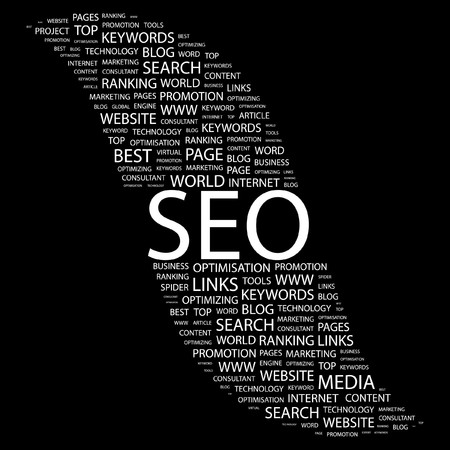 SEO. Word collage on black background. Vector illustration. Stock Vector - 7371391