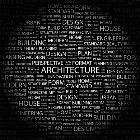 wort collage: ARCHITEKTUR. Wort Collage auf schwarzem Hintergrund. Vektor-Illustration.