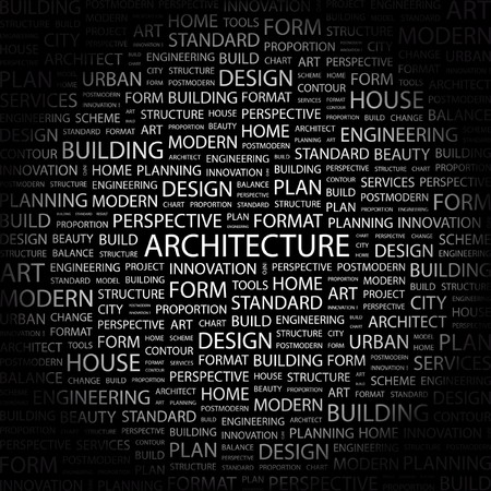planos arquitecto: ARQUITECTURA. Palabra collage sobre fondo negro. Ilustraci�n vectorial.