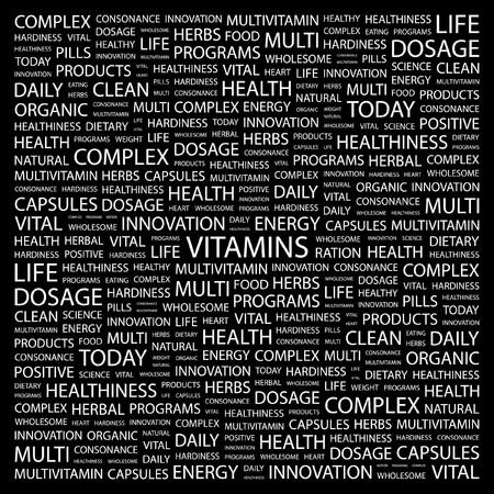 multivitamins: VITAMINS. Word collage on black background. Vector illustration.    Illustration
