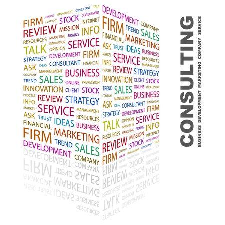 財源: コンサルティング。白い背景の上の単語のコラージュ。ベクトル イラスト。  イラスト・ベクター素材