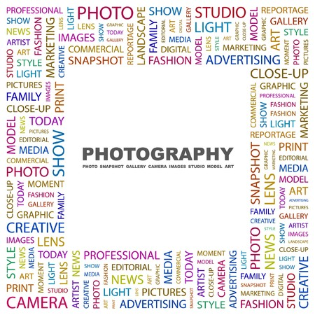 PHOTOGRAPHY. Word collage on white background. Vector illustration.    Illustration