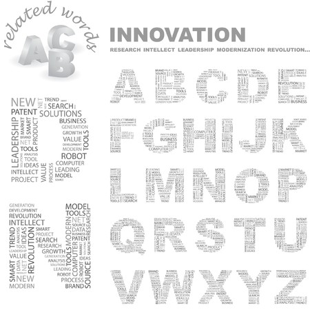 marketing mix: INNOVATION. Vector letter collection. Wordcloud illustration.   Illustration