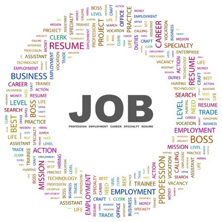 Vacancies: JOB. Word collage on white background. Vector illustration.