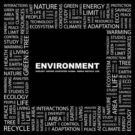 ENVIRONMENT. Word collage on black background. Vector illustration. Stock Vector - 7371406