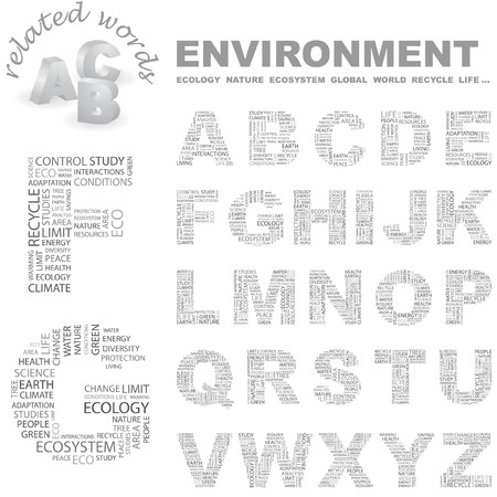 ENVIRONMENT. Vector letter collection. Wordcloud illustration.   Vector