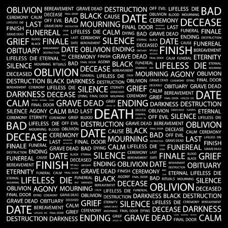 decease: DEATH. Word collage on black background. Vector illustration.