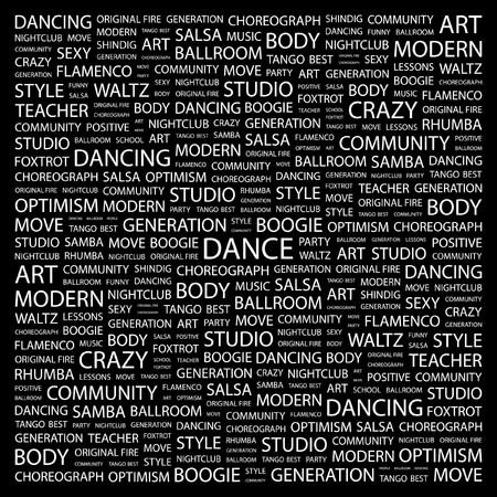 サルサ: ダンス。黒の背景上のコラージュを単語します。ベクトル イラスト。