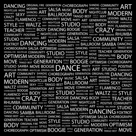 dance teacher: DANCE. Word collage on black background. Vector illustration.    Illustration