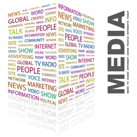 MEDIA. Word collage on white background. Vector illustration.    Vector
