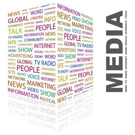 accessing: MEDIOS DE COMUNICACI�N. Palabra collage sobre fondo blanco. Ilustraci�n vectorial.  Vectores