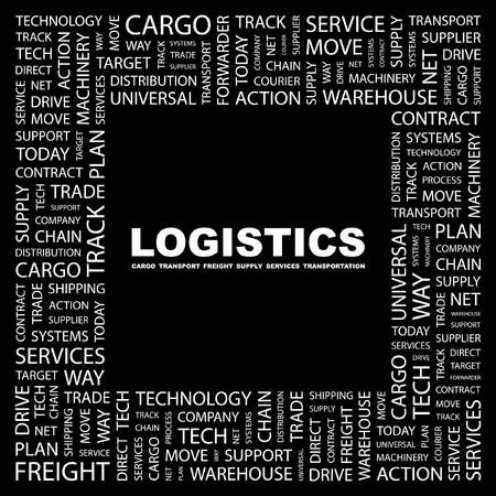 air freight: LOGISTICA. Parola di collage su sfondo nero. Illustrazione vettoriale.