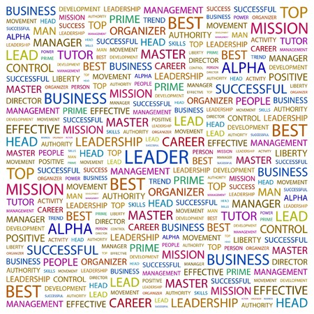 kingpin: LEADER. Word collage on white background. Vector illustration.