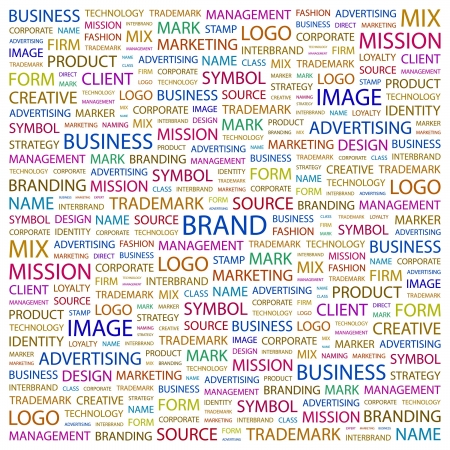BRAND. Word collage on white background. Vector illustration.    Vector