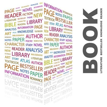 BOEK. Woord collage op witte achtergrond. Vector illustratie.
