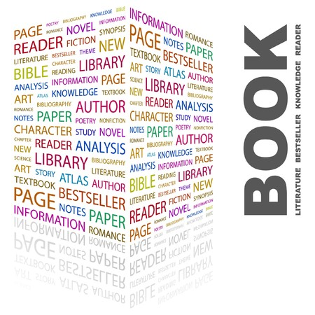 monograph: BOOK. Word collage on white background. Vector illustration.