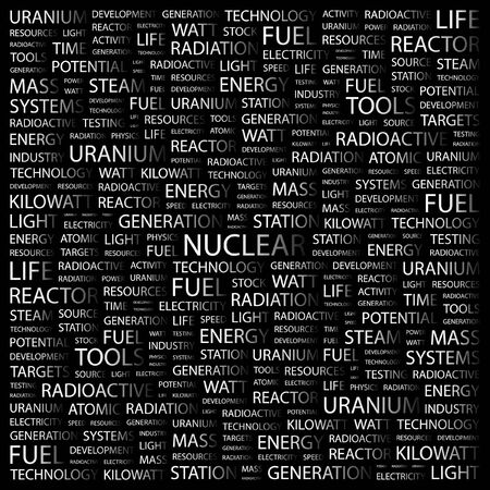 NUCLEAR. Word collage on black background. Vector illustration. Stock Vector - 7371748