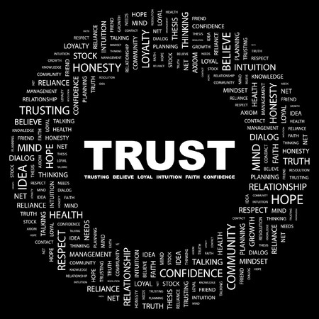 TRUST. Word collage on black background. Vector illustration.    Vector