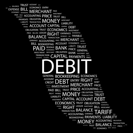 DEBIT. Word collage on black background. Vector illustration.    Stock Vector - 7371399