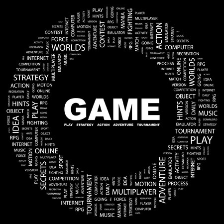 mix fighting: GAME. Word collage on black background. Vector illustration.