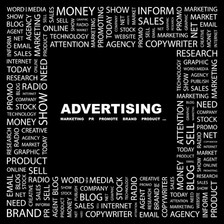 apprise: ADVERTISING. Word collage on black background. Vector illustration.