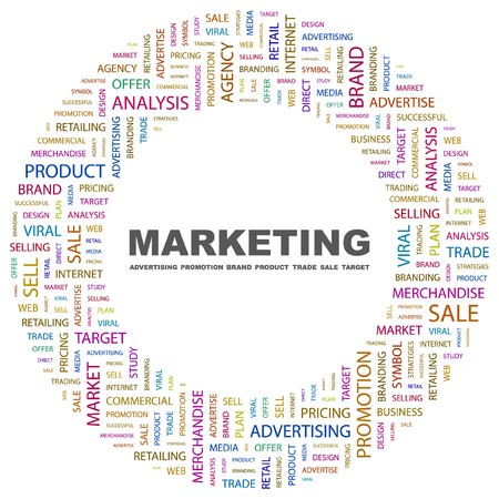 marketing mix: MARKETING. Word collage on white background. Vector illustration.    Illustration