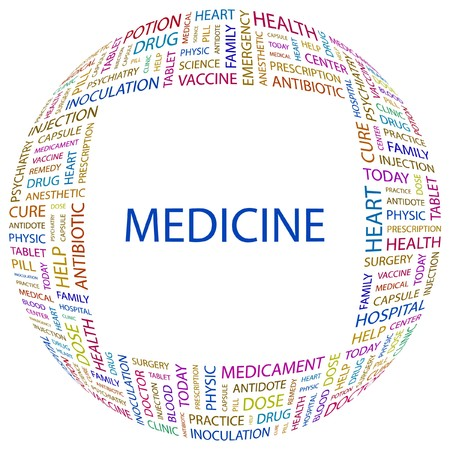 MEDICINE. Word collage on white background. Vector illustration.    Vector